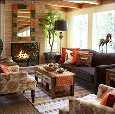 15 Most Mesmerizing Fall Living Room Ideas To Try This Year Herbst Wohnzimmer Ideen This image has get Fall Living Room, Bohemian Living Rooms, Living Room Decor Cozy, Elegant Living Room, Simple Living, Pier 1 Living Room Ideas, Brown Living Room Furniture, Modern Living, Cozy Room