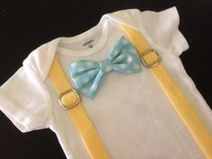 Easter Bowtie and Suspenders Bodysuit in Yellow and Light Blue Dots on Etsy, $19.00