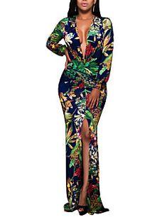 68ff902c104 Femme Fleur Fendue Grandes Tailles Soirée Bohème Maxi Moulante Robe -  Imprimé