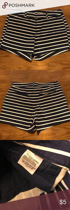 Striped Shorts Blue and white striped shorts. There are a few spots where the blue has run into the white stripes as shown in pictures 4/5. I have not tried to remove them as I only wore/ washed them once. Old Navy Shorts