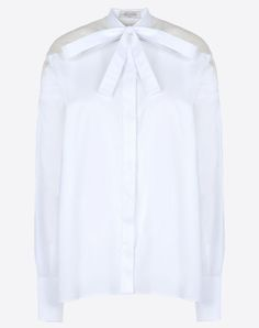 Valentino Cotton and Organza Pussy-bow Shirt