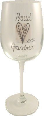 Proud Grandma Wine Glass by Dreamairshop Ltd UK. $20.95. hand painted by Dreamair Ltd in the UK. Holds 11 fl oz height 8in. Expertly painted in silver relief on tea rose coloured square with hearts.. Proud Grandma Wine Glass. initialled by the artist and boxed with aÊcard of authenticity of our Casas range. Proud Grandma Wine Glass holds 16 fluid oz, height 8in.Hand Painted in the UK a contemporary look on a traditional design,Expertly painted in silver relief on tea rose ...