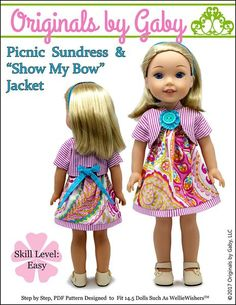 Pixie Faire Originals By Gaby Picnic Sundress & Show My Bow Jacket Doll Clothes Pattern for inch Dolls Such As WellieWishers - PDF Frock Patterns, Doll Clothes Patterns, Pdf Sewing Patterns, Doll Patterns, Clothing Patterns, Girl Dolls, Barbie Dolls, Ag Dolls, Bolero Pattern