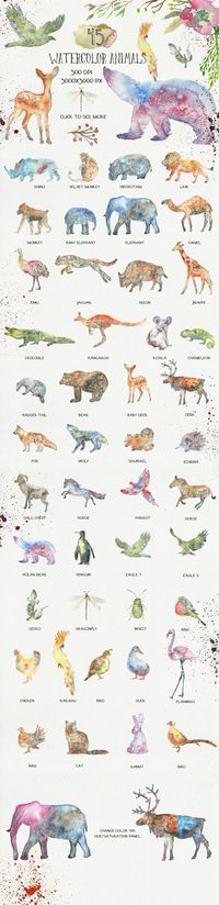 This is a collection of 45 watercolor animal silhouettes. They were painted in a wet watercolor technique. Great to use in logo design, business cards, avatars, birthday invitations, baby shower cards, web design, posters, flyers and more. There is also f