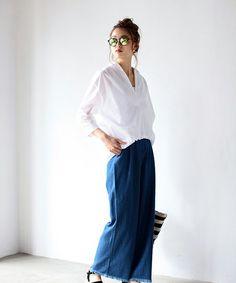 バックコクーン7分スキッパーシャツ(シャツ/ブラウス)|AZUL by moussy(アズールバイマウジー)のファッション通販 - ZOZOTOWN