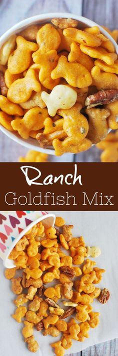Ranch Goldfish Snack Mix Cheddar, Parmesan, and Pretzel Goldfish tossed with pecans in a buttery, savory ranch mixture and baked until delicious. Perfect for a party snack! Snacks Für Party, Easy Snacks, Healthy Snacks, Snacks Kids, Kid Lunches, School Lunches, Great Appetizers, Appetizer Recipes, Snack Recipes