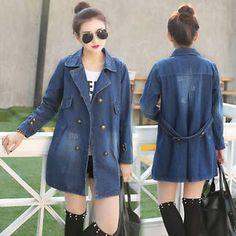 Spring New womens jean loose denim jacket trench coat outerwear Windbreaker