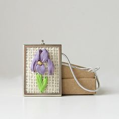 Purple Iris Necklace silk ribbon embroidery