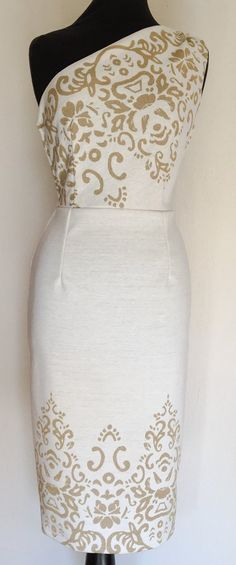 Mamie Dress by Di Brooks - Vintage 1950s inspired gold lurex and cream cocktail wiggle dress