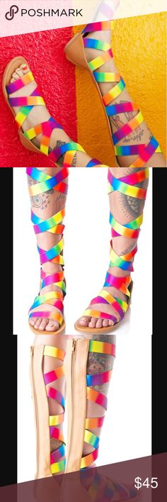 Rainbow Strappy Festival Sandals Sky Castle Strappy Sandals. These amazing calf-high sandals feature rainbow gradient elasticized straps runnin' up the entire leg, open toe, and full length zip back closure. Perfect for the summer and festival season✌️️ Shoes Sandals
