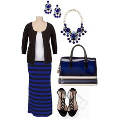 """Black and Blue Maxi Skirt- Plus Size Outfit"""