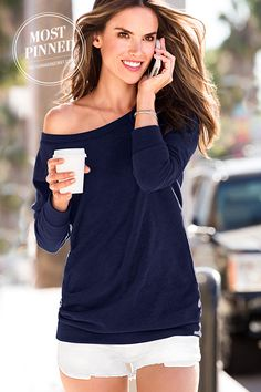 fleece off the shoulder tunic http://rstyle.me/n/fypdcpdpe | Blue ...