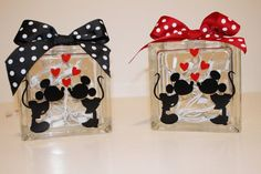 Valentine Disney glass blocks with interior lights and bow. Can be painted or custom ordered vinyl design.