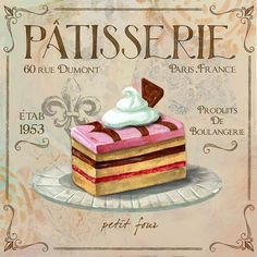 Patisserie Petit Four Art Print by Fiona Stokes Gilbert. All prints are professionally printed, packaged, and shipped within 3 - 4 business days. Choose from multiple sizes and hundreds of frame and mat options. Pub Vintage, Vintage Labels, Vintage Diy, Vintage Style, Collages D'images, Poster Mural, Food Illustrations, Canvas Artwork, Baby Shop