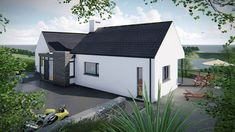 The two storey, split level design is informed by the site contours, orientation and views. The living accommodation is located on the upper ground level and bedroom accommodation is located at lower ground level. Modern Bungalow House Plans, Dormer Bungalow, Modern House Design, Bungalow Ideas, Beach House Tour, House Cladding, Raised Patio, Steel House, House Tours
