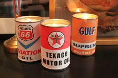 vintage oil can candles, crafts, Vintage inspired labels charm cream wax candles made in upcycled veggie cans Teacup Candles, Old Candles, Candle Cups, Candle Art, Vintage Candles, Washi, Vintage Oil Cans, Concrete Candle Holders, Seashell Candles
