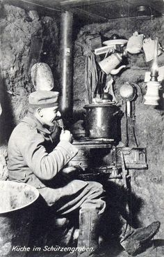 Kitchen in the trench. WWI German soldier.