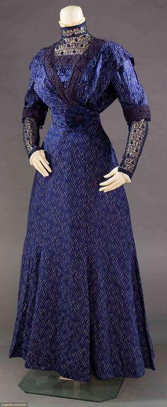 SILK DAMASK AFTERNOON DRESS, 1910-1915