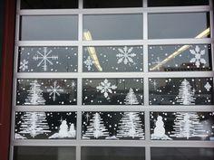 Winter Wonderland window painting @ A Salon 7, in Reno by: Jannal