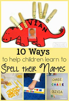 10 fun ways to help kids learn to spell their names. - 10 fun ways to help kids learn to spell their names. You are in the right place about kids portraits - Preschool Names, Preschool Literacy, Preschool At Home, In Kindergarten, Educational Activities, 3 Year Old Preschool, 3 Year Old Activities, Beginning Sounds, Home Preschool