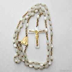 French Pearlized and Gold Filled Wedding Bride Rosary
