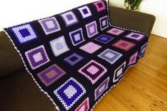 Crochet Blanket Throw Blanket Throw For Sofa Throw For Couch Purple Throw Blanket Purple Blanket Purple Throw Blanket, Couch Throws, Sofa Throw, Throw Blankets, Square Blanket, Afghan Blanket, Purple Bed Linen, Purple Bedding, Rugs
