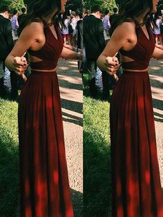 Simple Two Pieces Prom Dresses, Long A-line Prom
