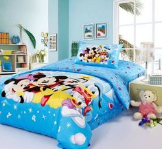 DISNEY Mickey Mouse Puzzle SINGLE or DOUBLE choice QUILT COVER SET ears blue