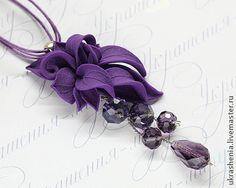 Оригинальный фиолетовый кулон из полимерной глины и подвесками - фиолетовый