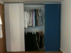 """easy """"built in"""" wardrobe look, wish i could have thought of something like this when I didn't have a closet in college"""