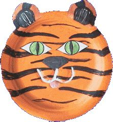 From DLTK-Growing Together: Creating a paper plate tiger craft.