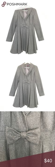 2b Bebe Skirted Pea Coat This is so beautiful!! It has a ruffled skirt effect at the bottom and a bow in the middle to top it off!! 2B Bebe Jackets & Coats Pea Coats