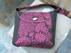 Retro floral classic Cotton Handbag in choclate & raspberry  strong Fabric £15.00