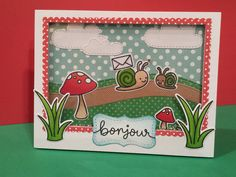 Lawn Fawn - Gleeful Gardens + coordinating dies, Stitched Hillside Borders, Spring Showers, Stitched Labels _ fabulous shaker scene by Lindsey via Flickr - Photo Sharing!