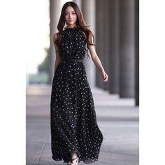 Elegant Keyhole Neckline Polka Dot Sleeveless Chiffon Women's Maxi Dress With Belt