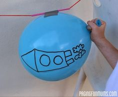 Rocket…an easy & FUN Science Experiment for Kids Balloon Rocket! Easy Science Experiment for Kids! Easy Science Experiment for Kids! Balloon Games For Kids, Space Activities For Kids, Space Preschool, Science Activities, Science Projects, Play Activity, Science Lessons, Outer Space Crafts For Kids, Science Education