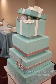 Tiffany Wedding Cake ,Awesome LB: Instead of a cake, you can have these boxes on your gift and card table.
