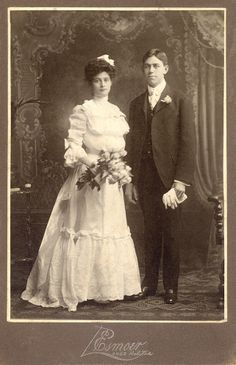 +~+~ Antique Photograph ~+~+ Bride and Groom ca. 1890