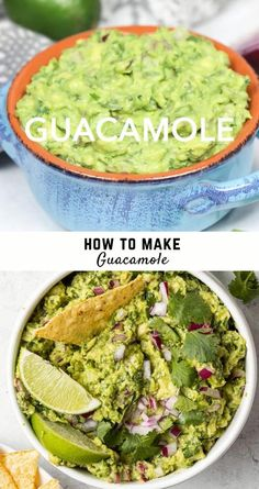 Learn how to make homemade guacamole. This recipe is easy, so fresh-tasting, and can be ready in under 20 minutes. So much better than store-bought too! Creamy or slightly chunky, spicy or not so much, how do you love this wonderful Mexican dip made with avocadoes? It's one of my favorite foods. I love the taste, the texture, the color, and the smell. It's actually super healthy too, so whip some up today. The perfect appetizer for parties or just snacking at home. How To Make Guacamole, Homemade Guacamole, Guacamole Recipe, Gf Recipes, Avocado Recipes, Mexican Food Recipes, Ethnic Recipes, Spicy Appetizers, Appetizers For Party