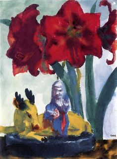 Emil Nolde - Chinese Statuette and Amaryllis