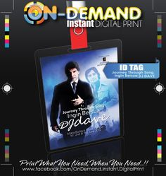 CLIENT : SHAHDAVE ENTERTAINMENT PRODUCT : ID TAG - Journey Through Song, Ingin Bersua DJ DAVE - ISTANA BUDAYA - 1ST JUNE - 3RD JUNE 2012  DESCRIPTION:- DIGITAL PRINTING MATERIAL : ARTCARD  SIZE PAPER :  100mm X 140mm SIZE PLASTIC LAMINATE :  111mm X 154mm x 100mic COL : 4 COLS  QTY : 50pcs  DELIVERY DATE : TODAY -  MAY 29 : 2012 STATUS : ON-PROGRESS