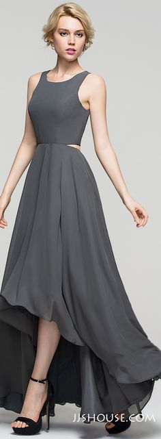 Trendy yet modest, this floaty A-line scoop neck asymmetrical chiffon Evening dress gives you the look of two pieces from the back. #JJsHouse
