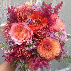 Bridesmaid Bouquet filled with -zinnia, dahlia, pincushion protea  See more here: http://www.freshdesignsflorist.com/#!bouquets-/c1kx3