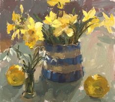 Daffodils and Cornishware - Haidee-Jo Summers - Oil on canvas The Artist Magazine, Cornishware, Jackson's Art, Still Life Oil Painting, Still Life Art, Watercolor Flowers, Art Flowers, Yellow Flowers, Watercolour