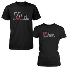 Mr and Mrs Ribbon Matching Couple Shirts Valentine's Graphic Deign, Size: LEFT- XL / RIGHT- M, Black