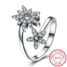 925 Sterling Silver Grass Shape Diamond Open Ring