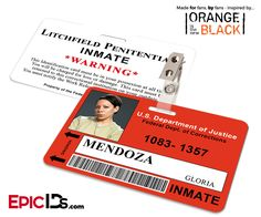 Orange is the New Black Inspired Litchfield Penitentiary Inmate Wearable ID Badge - Mendoza, Gloria