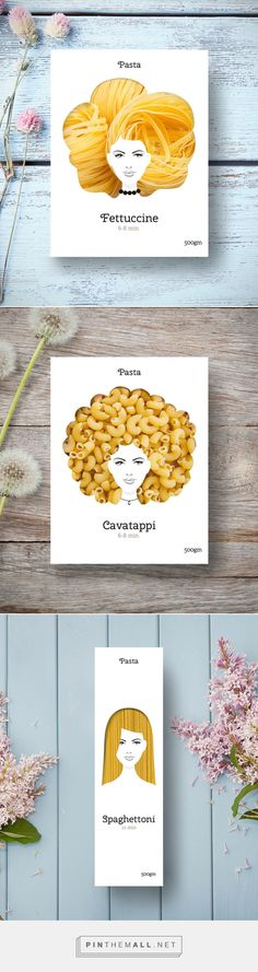 This is an interesting pasta packaging design. Making the hair of the girl transparently on the package, the different type of pasta/spaghetti within the shape of the hair shows different hair style. From the feedback, the second one is never the customers' favorite due to the uncomfortable 'hair'.