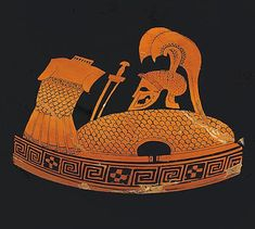 Greek, red-figure fragment, depicting a hoplite's panoply, including cuirass, sword, shield and a double crested helmet.