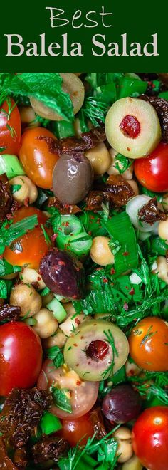Balela Salad Recipe | The Mediterranean Dish. Bright, flavor-packed Mediterranean chickpea salad with chopped veggies, lots of herbs, and favorites like olives and sun-dried tomatoes. A zesty dressing brings it all together! A simple recipe from TheMediterraneanDish.com